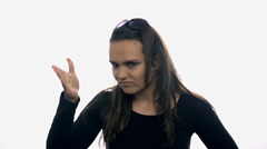 Woman facepalm on white background Stock Footage
