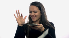 Flying money from hand by attractive woman Stock Footage