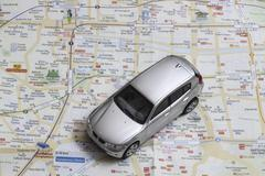 Matka käsite - pieni auto Seoul kaupungin kartta Kuvituskuvat