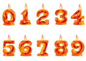 Stock Illustration of birthday candle as numbers