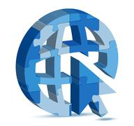 go to web icon in puzzle - stock illustration
