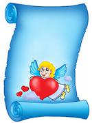 Valentine blue letter with flying cupid Stock Illustration