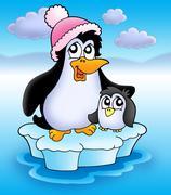 Two penguins on iceberg Stock Illustration