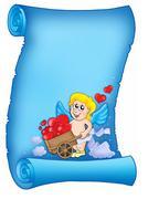 Valentine letter with wheelbarrow cupid - stock illustration
