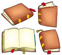 Various old books collection - stock illustration