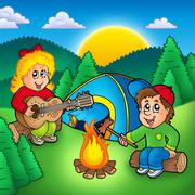 Two camping kids - stock illustration