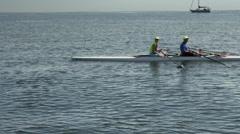 Man kayaking in harbor. Stock Footage