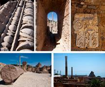 some of the roman ruins in carthago, tunisia, collage - stock photo