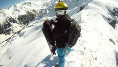 snowboarder on mountain 360 degrees self rotation, panorama, - stock footage
