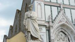 Dante alighieri statue tilt1 Stock Footage