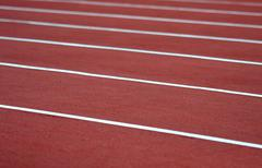 Close up on athletics track Stock Photos