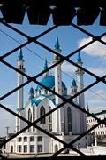 Kul sharif mosque, view through railing Stock Photos