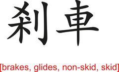 Chinese Sign for brakes, glides, non-skid, skid - stock illustration