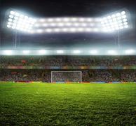 stadium with fans - stock photo