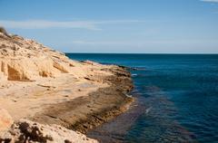 rock beach in tunisia - stock photo