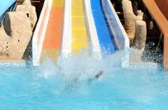 fun in aqua park - stock photo