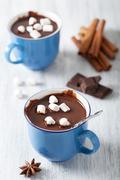 Hot chocolate with mini marshmallows Stock Photos