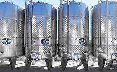 Modern aluminum barrels Stock Photos