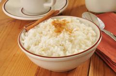 Boled rice with milk - stock photo