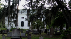Historic church cemetery spanish moss Stock Footage