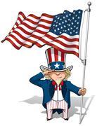 Uncle sam saluting the us flag Stock Illustration