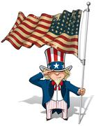 Uncle sam saluting the us wwi-wwii (48 star) flag Stock Illustration