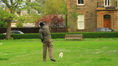 Man Playing With his Dog - Outside In a park Stock Footage