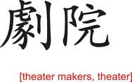 Stock Illustration of Chinese Sign for theater makers, theater