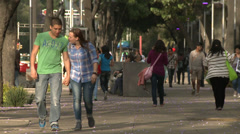 Lovers and singles walk along a tree lined avenue Stock Footage