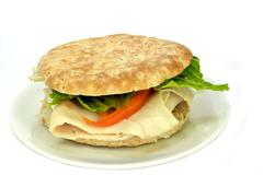 Whole wheat flatbread turkey sandwich - stock photo