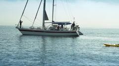 Sailboats and Kayak Monterey Bay. Stock Footage