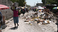 Chaotic street scene with squalor and colour Stock Footage