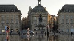Miroir D'eau, Bordeaux, France Stock Footage