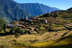 Nepalese village in the Annapurna region Stock Photos