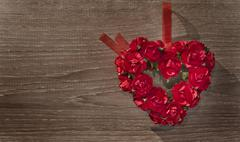 Valentine day background with heart and roses Stock Photos