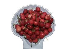 Red ripe fresh gathered cherries Stock Photos