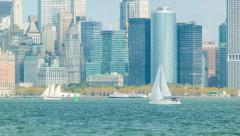 Sail Boat on the Hudson River with Downtown Manhattan Background Stock Footage