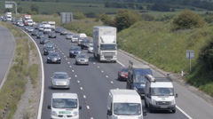 Slow traffic on M4 Motorway, UK Stock Footage