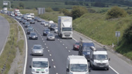 Stock Video Footage of Slow traffic on M4 Motorway, UK