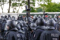 May Day 2014 in Hamburg - stock photo