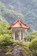 Traditional Pavilion atop Cliff Stock Photos