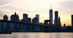 4K view of Manhattan skyline at sunset - New York - USA Stock Footage