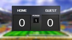 soccer match scoreboard draws 0 & 0 - stock illustration