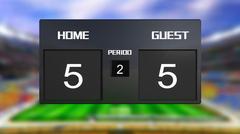 soccer match scoreboard draws 5 & 5 - stock illustration