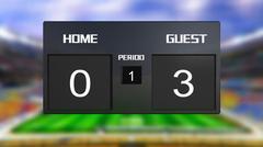 soccer match scoreboard guest win 0 & 3 - stock illustration