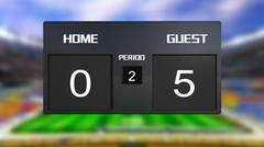 Stock Illustration of soccer match scoreboard guest win 0 & 5