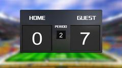 Stock Illustration of soccer match scoreboard guest win 0 & 7