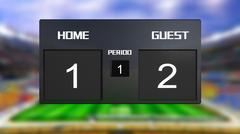 soccer match scoreboard guest win 2 & 1 - stock illustration