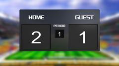 soccer match scoreboard home win 2 & 1 - stock illustration