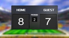 soccer match scoreboard home win 8 & 7 - stock illustration
